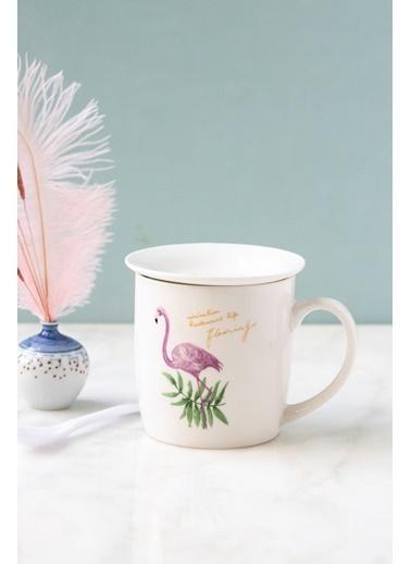 Arma House Flamingo Motifli Porselen Tabaklı Kupa Bardağı Renkli